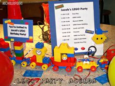 Lego party agenda:  free play, lego limbo, musical lego, tower building, cake, presents, car racing game, outside free play