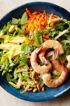 Transform pad thai into a healthy salad by swapping sliced cabbage noodles for the rice noodles--and save more than 100 calories. Look for sustainable shrimp certified by an independent agency, such as the Marine Stewardship Council. If you can't find it, wild shrimp from North America is likely to be sustainably caught. #salads #saladrecipes #healthysalads #saladideas #healthyrecipes