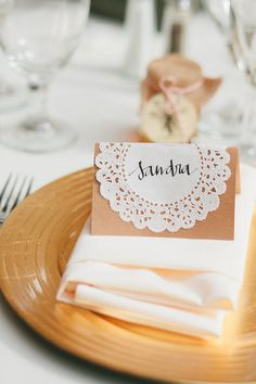 Lace Motif - Handwritten, Calligraphy Doily Place Cards, Escort Cards, Seating Cards, Personalized, Customized Name Cards