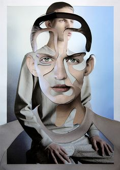 Cut & paste by Damien Blottière. This image has be created in photoshop and I like the way the artist has got two images of the same person but fragmented them so they moderately fit together. I would like to use photoshop within this project to portray my theme.