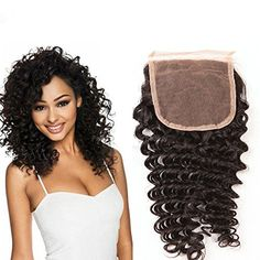 Passion Beauty Free Part Closure Brazilian Deep Wave Human Hair Lace Closure Natural Color 820 Inches ** Find out more about the great product at the image link. (This is an affiliate link) Feather Extensions, Brazilian Deep Wave, Deep Curly, Lace Closure, Lace Tops, Hair Care, Wigs, Hair Beauty, Knots