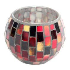 Red Round Mosaic Candle Holder 3.23-in