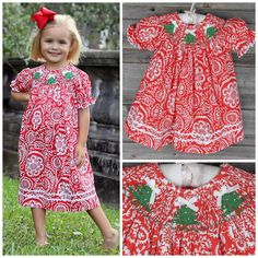 Smocked Christmas Tree Bishop Red Damask Brand: Smocked Auctions.