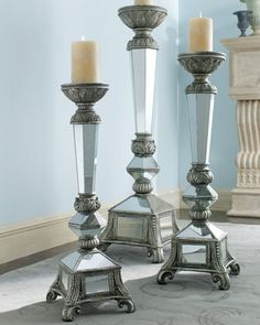 A handsome silver leaf baroque style carved wooden candle stand mirrored floor candleholders at horchow mozeypictures Choice Image