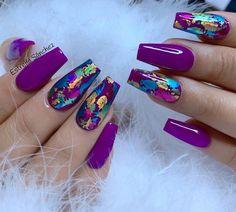 Fancy Nails, Bling Nails, Cute Nails, Pretty Nails, Purple Nail Designs, Cute Acrylic Nail Designs, Colorful Nail Designs, Summer Acrylic Nails, Best Acrylic Nails