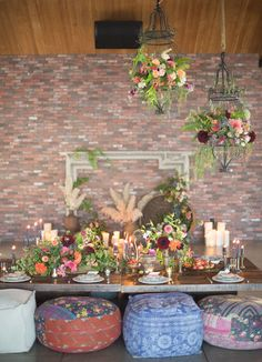 Bohemian romance tablescape featuring pieces from Found Vintage Rentals