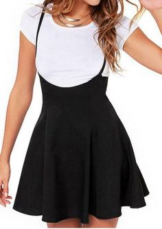 Solid Zipper Suspender Skirt Without Necklace