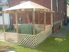 pallets gazebo, outdoor living, pallet, back shot of gazebo just added some lattice work to cut it off from yard Wooden Pallet Crafts, Diy Pallet Projects, Backyard Projects, Wooden Pallets, Outdoor Projects, Outdoor Ideas, Backyard Ideas, Garden Projects, Wood Crafts