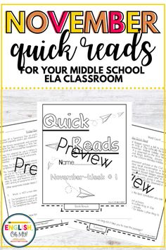 Looking for November activities for your middle school ela classroom? This set of November quick reads for middle school is a great resource for middle school teachers who want to introduce their students to quick reading passages each day. #middleschoolquickreads #middleschoolelea