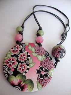 "Polymer clay Pendant, Romantic, floral ""Le Jardin"""