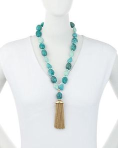 Y36RE Lydell NYC Beaded Turquoise Tassel Necklace, Blue