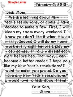 FREEBIE- New Years Resolution Friendly Letter Activity