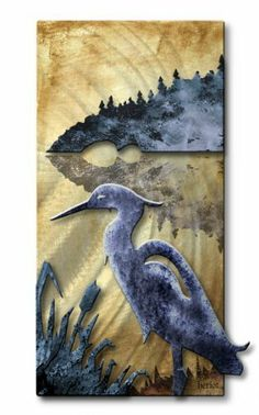"Blue Herring Abstract Landscape Metal Wall Art, Bird Wall Sculpure, Contemporary Wall Décor by ASH CARL DESIGNS. $124.99. Corrosion Resistant Finish. Hand Sanded Design. High Quality Welded and Bolted Construction. Size: 24"" T x 12"" W Inches. Painted Steel. Add some creative shimmering excitement to your walls with this decorative 'Blue Herring' metal wall sculpture. This beautiful illuminated metal wall hanging consists of two colorful painted metal layers that will liven up a..."