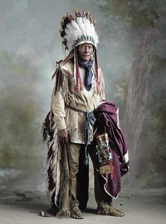 Cheyenne Chief and Medicine man Porcupine (1848 - 1929). He brings the Ghost Dance to the Cheyenne.