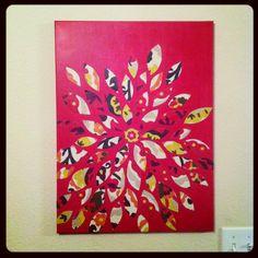 DIY wall decor. Fabric, paint, canvas .. Easy!