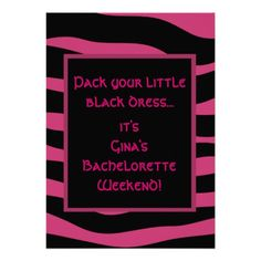 Fuchsia & Black Zebra Stripe Party Invitations