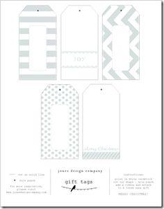 Printable DIY gift tags; pdf for this color: http://content.jonesdesigncompany.com/wp-content/uploads/2011/11/icy-blue-tags.pdf ; more colors: http://jonesdesigncompany.com/