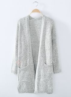 947aad1c7b DaysCloth Women s Knit Going out Street chic Gray Long Sleeve Cotton Fall Sweaters  Cardigan