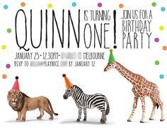 Invitation from a Party Animal 1st Birthday Party via Kara's Party Ideas KarasPartyIdeas.com