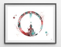 Enso Zen Circle watercolor print Buddhist Symbol by MimiPrints