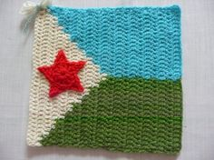 Flag of Djibouti by Karla B. To learn more about our organization go to www.knit-a-square.com To meet our members and see more of our knitting and crochet go to http://forum.knit-a-square.com/
