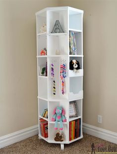 Build a beautiful octagon rotating bookshelf to store lots of books and display your things. The bookshelf rotates around and around to reveal more storage.