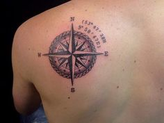 Detailed compass inked by our shop graduate and artist Pete