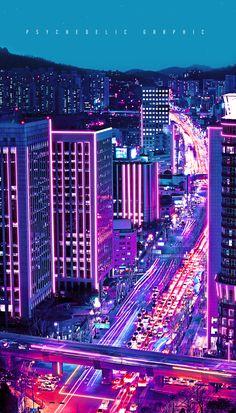 Neon City at Behance – City Lights Cyberpunk City, Ville Cyberpunk, Cyberpunk Aesthetic, City Aesthetic, Aesthetic Images, Purple Aesthetic, Aesthetic Light, Aesthetic Videos, Night Aesthetic
