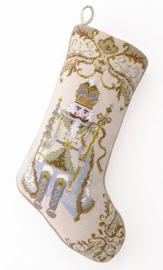 A lovely gold thread nutcracker, what a gorgeous Christmas stocking pattern. Discover a collection of needlepoint stockings in holiday themes and dog breeds. Gold Christmas Stockings, Cross Stitch Christmas Stockings, Cross Stitch Stocking, Christmas Stocking Pattern, Christmas Knitting, Christmas Cross, Christmas Ornaments, Blue Christmas, Santa Christmas