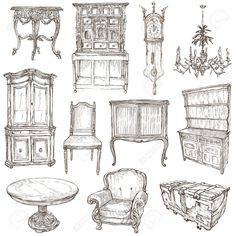 FURNITURE - Collection (no.1) Of An Hand Drawn Illustrations... Stock Photo, Picture And Royalty Free Image. Image 40534315.