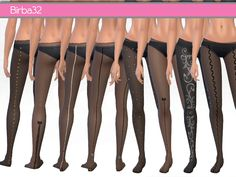 A super set composed of 9 stockings with different decorations, on the front, on the back or on all the leg. All in black tone.  Found in TSR Category 'Sims 4 Female Leggings'