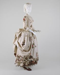 1780 linen Dress (Robe à la Polonaise). Wow embroidery and fringe.