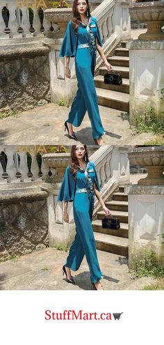 320536bee63 VOA Plus Size Cyan Fake Two Piece Set Heavy Silk Jumpsuit Women Cloak –  Stuff Mart