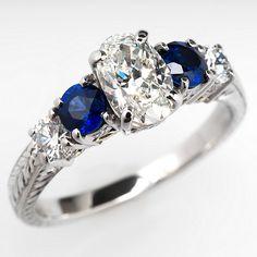 Varna GIA Certified Oval Diamond & Sapphire Engagement Ring Platinum & 18K