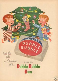 Vintage Fleer Dubble Bubble Gum Christmas Tree Stocking Gift Present Ornament Ad | eBay