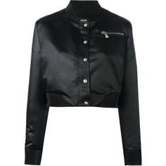 Versus cropped bomber jacket ($334) ❤ liked on Polyvore featuring outerwear, jackets, black, zip front jacket, cropped bomber jackets, flight jackets, long bomber jackets and bomber style jacket