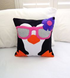 Penguin Fleece Throw Pillow, Girl Penguin by PatternsOfWhimsy on Etsy