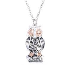 Steampunk Owl Gear Necklace