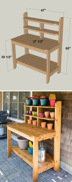 Create a great place for potting plants and gardening chores by building this to. Create a great place for potting plants and gardening chores by building this tough, good-looking potting bench. This one is built from cedar to hold .