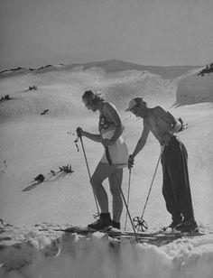 Summer skiing Lassen volcano, 1942