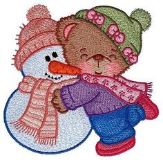 Cute Colors Winter Bears Machine Embroidered Quilt Blocks