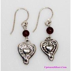 ff3d962c9 Silpada Artisan Jewelry Red Garnet Stone Southwest 925 Sterling Silver  Etched Heart Petite Dangle Earrings B Retired Rare