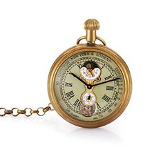 Fafada Retro Vintage Unique Mens Mechanical Hand Wind Pocket Watch Moon Phase without Cover