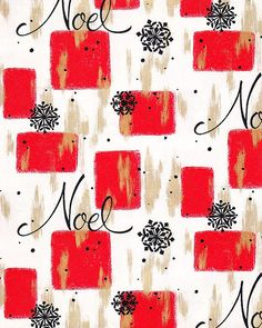 Vintage Christmas Wrapping Paper NOEL 1950s