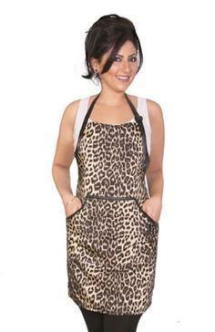 Animal Print Apron - Leopard print - Fashion Apron, Fitted Apron, Salon Apron, Salon Wear, Cute Apron, Spa Wear, Glitter Apron, Hairdresser by LadybirdLine on Etsy https://www.etsy.com/listing/171585758/animal-print-apron-leopard-print-fashion