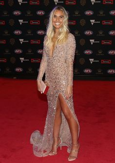 Every Single Dress From the 2018 Brownlow Medal Red Carpet Red Carpet Dresses, Ball Dresses, J Aton Couture, Rebecca Judd, Hannah Davis, Formal Wear, Formal Dresses, White Gowns, Gold Dress