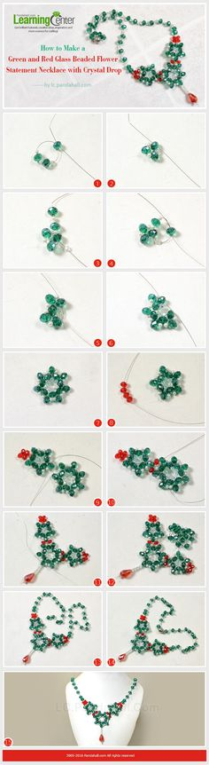 Tutorial on How to Make a Green and Red Glass Beaded Flower Statement Necklace with Crystal Drop from LC.Pandahall.com