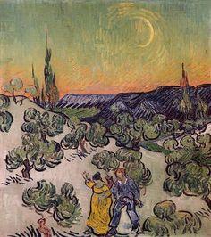 Moonlit Landscape by Vincent Van Gogh : Custom Wall Decals, Wall Decal Art, and Wall Decal Murals   WallMonkeys.com