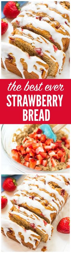 This ultra moist Strawberry Bread is made in just one bowl and tastes INCREDIBLE! Made with Greek yogurt, loads of juicy strawberries, and topped with a sweet vanilla glaze. Easy and healthy! Recipe from wellplated.com @wellplated