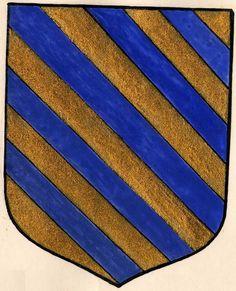 PAS A PAS -- Dessin des armes de Loys de Berton, sgr de Grillon, chevalier des deux ordres du roi (d'or à cinq cotices d'azur). -- Paris, Mazarine, 3094, f°10 (1585)).